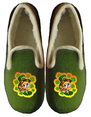 charentaises pantoufles humoristiques pour hommes Lutin irlandais
